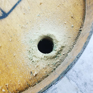 "Drill 1 3/4"" hole for barrel drain"