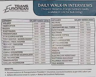 Trans European Employment Services Abu Dhabi, Daily Walk-in Interviews for Bulk Hiring in UAE