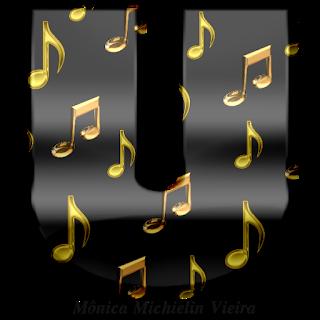 Abecedario Negro con Notas Musicales Doradas.