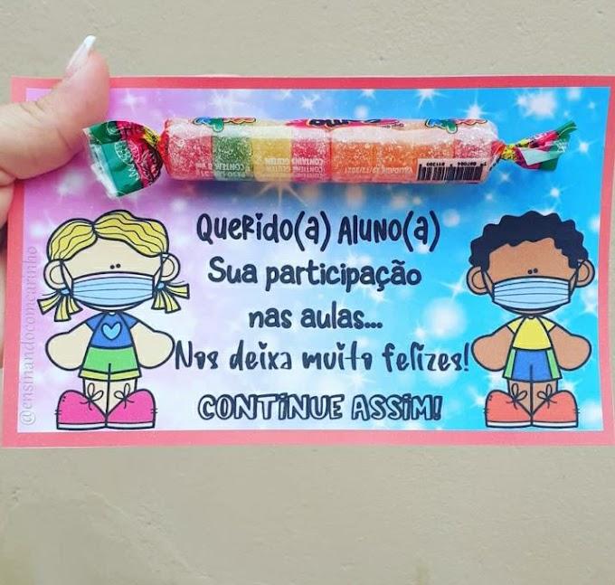 Cartão de agradecimento aos alunos pela participação nas aulas