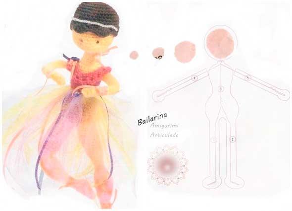 Bailarina amigurumi articulada para Reyes