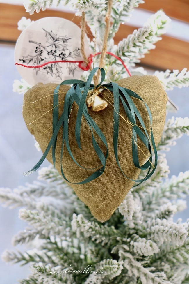 French Country Christmas Event 2019 has handcrafted gold fabric heart ornaments with gold embellishments