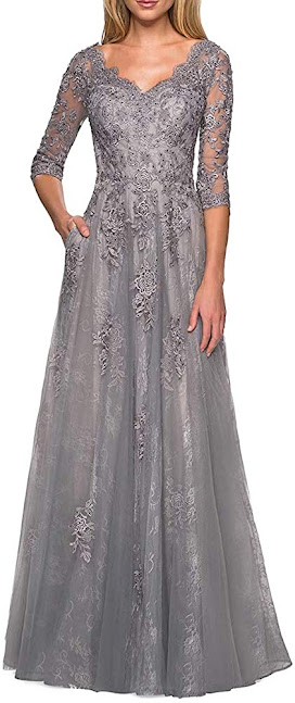 Long Grey Mother of The Groom Dresses