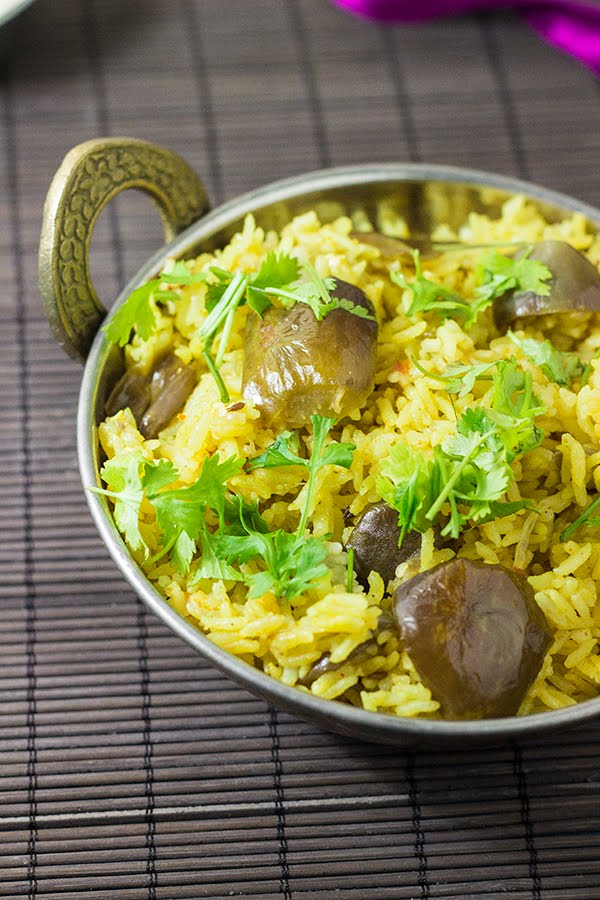 brinjal aubergine eggplant yogurt curd rice pilaf pulao Indian