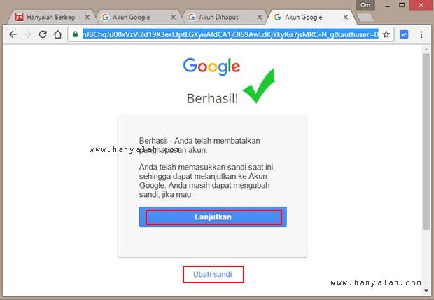 Cara Membatalkan Akun Email Google yang Terhapus