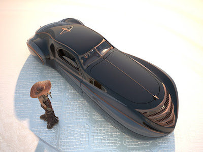 Duesenburg Coupe Simone Midnight Ghost with girl top view image