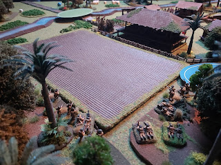 British soldiers fire at the village