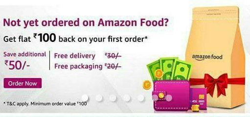 Amazon Food Offer- Flat ₹100 Cashback On 1st Food Order