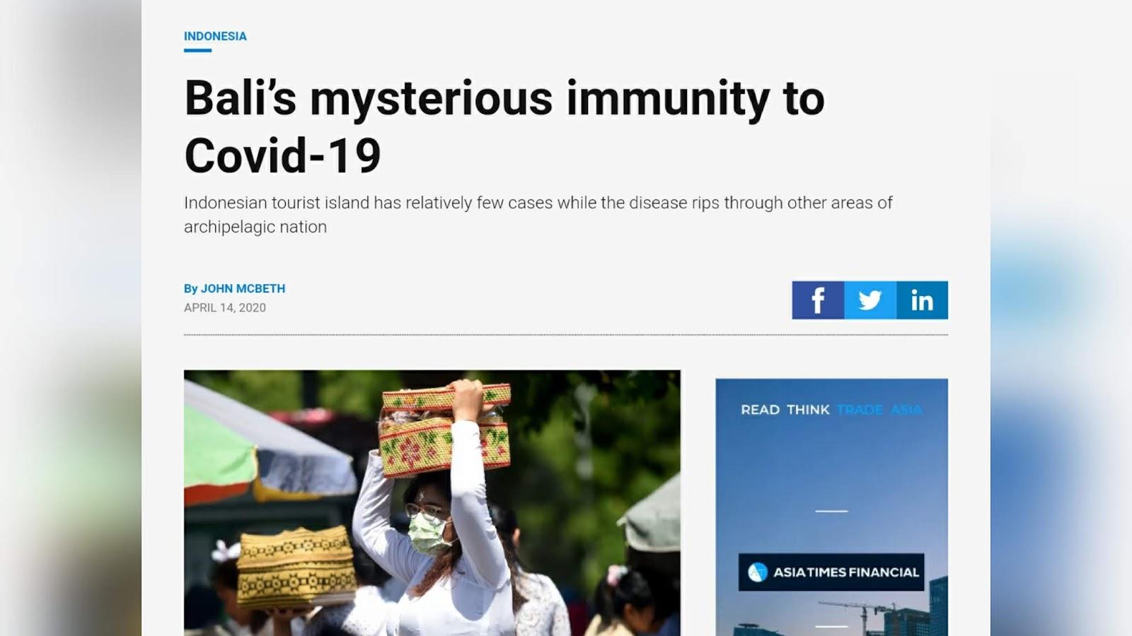 HEBOH! Media Asing Soroti Kekebalan Misterius Warga Bali dari Virus Corona