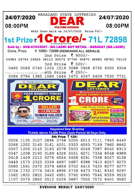 Nagaland State Lotteries 24-07-2020 Lottery Sambad Result 8:00 PM