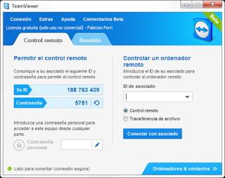 Interfaz principal de TeamViewer 11.