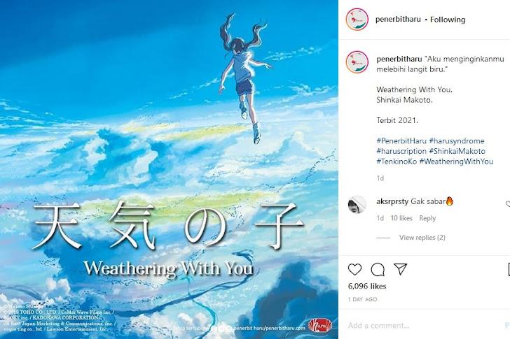 Penerbit Haru Hadirkan Novel Tenki no Ko di Indonesia