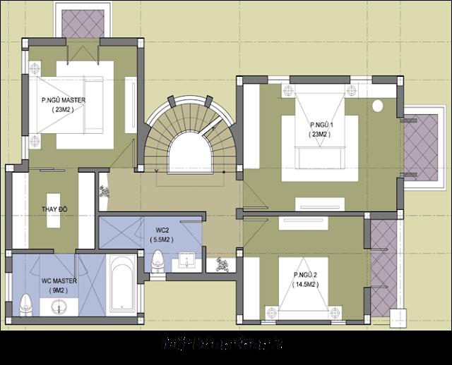 Mặt bằng thiết kế tầng 2 - Biệt thự Embassy Garden - Mẫu số 1