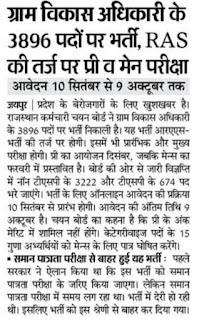 Rajasthan Gram Sevak Bharti 2021 राजस्थान ग्राम सेवक भर्ती 2021