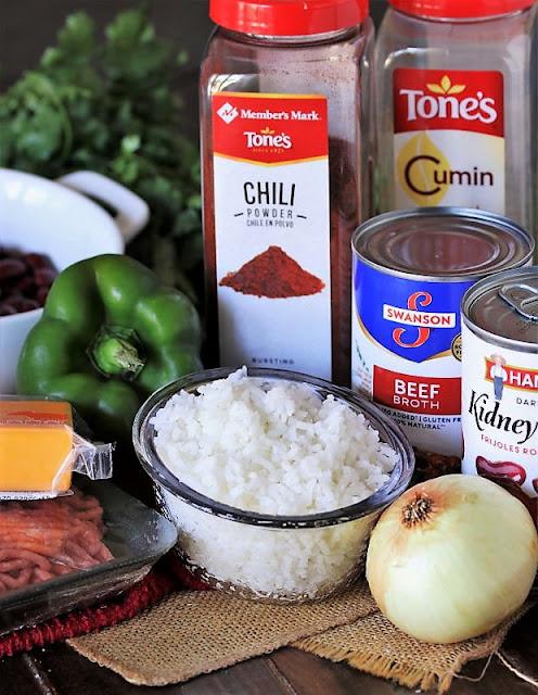 Ground Beef Burrito Bowl Skillet Ingredients Image