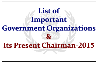 Important Government Organizations and Its Present Chairman- 2015