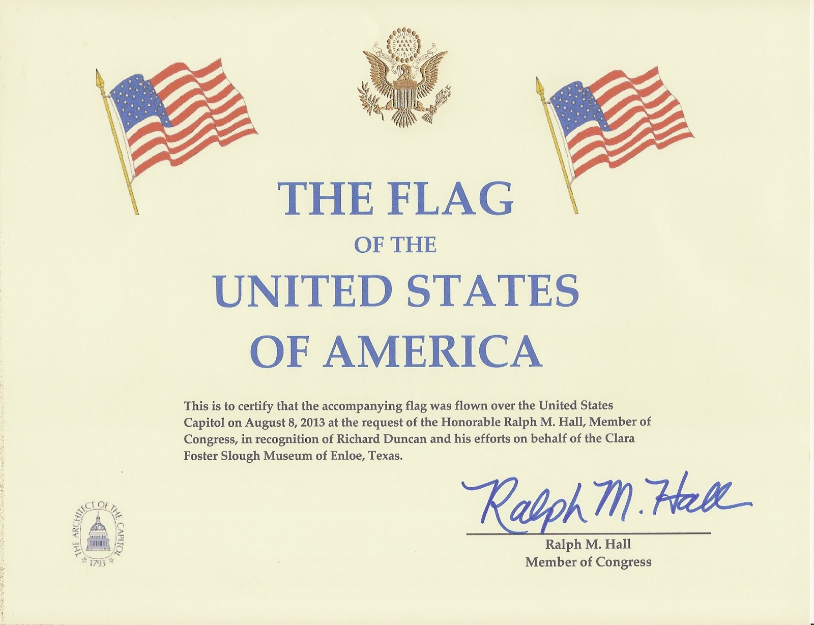 flag flown over capitol certificate