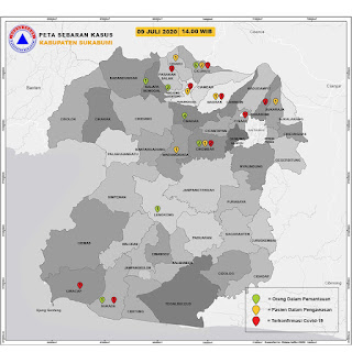 Peta sebaran COVID-19 Kabupaten Sukabumi