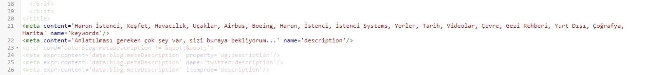 Blogger Temasında kodların arasına meta içerikler nasıl yazılır?