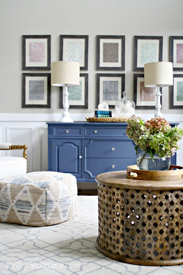 blue dresser with lamps