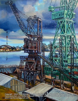 Plein air oil painting of heritage cranes on Cockatoo Island by industrial heritage artist Jane Bennett