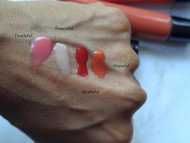 Osmosis Lip Glaze Thankful, Peaceful, Hopeful and Grateful Swatches