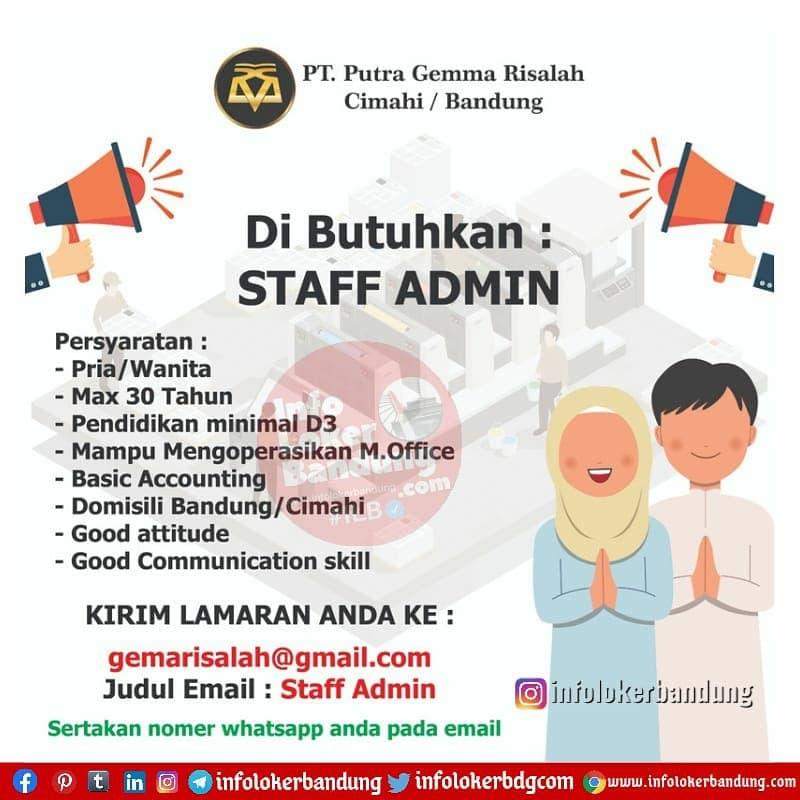 Lowongan Kerja PT. Putra Gemma Risalah Cimahi / Bandung April 2021