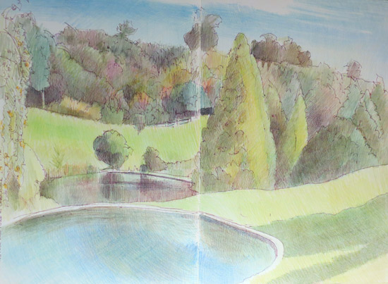 Travels with a sketchbook in view from the chartwell - Churchill swimming pool timetable ...
