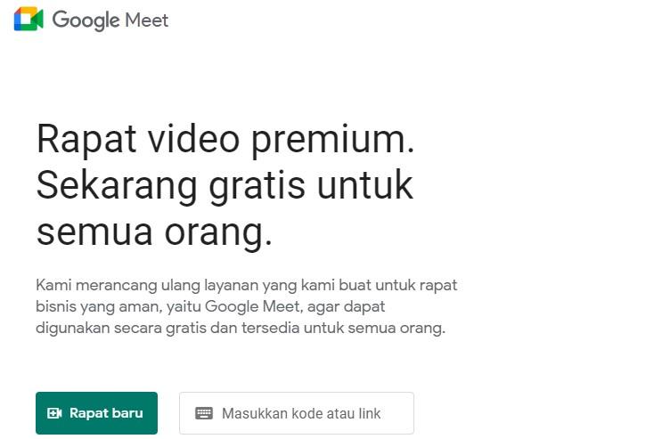 Tampilan home Google Meet