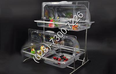 Kệ đựng thức ăn buffet bằng nhựa 2 tầng khay 1/2 nắp PC thu gọn 90 độ