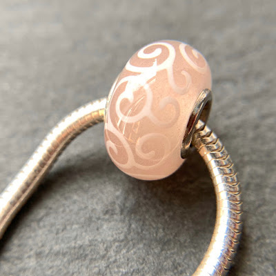 Handmade lampwork glass silver core big hole charm bead by Laura Sparling made with CiM Vintage Rose
