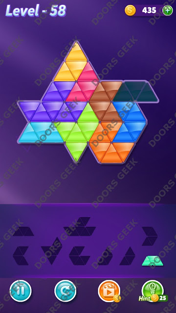 Block! Triangle Puzzle Proficient Level 58 Solution, Cheats, Walkthrough for Android, iPhone, iPad and iPod