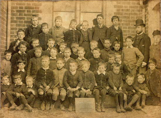 Headmaster Benjamin Mallet with pupils at Welham Green Boys school c1890s Image P Nash from the Images of North Mymms collection