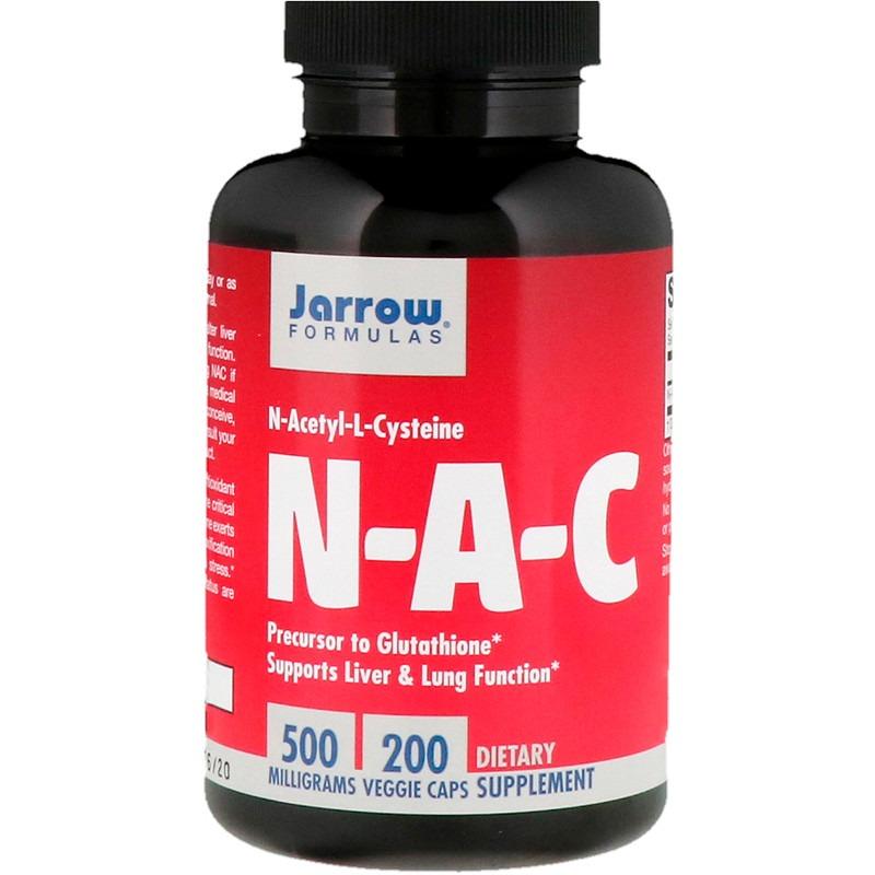 Jarrow Formulas, N-A-C, N-Ацетил-L-Цистеин, 500 мг, 200 вегетарианских капсул