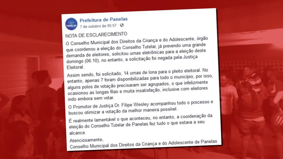 nota de esclarecimento através do facebook, em nome do Conselho Municipal dos Direitos da Criança e Adolescentes de Panelas