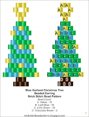 Free brick stitch seed beaded earrings pattern color chart.