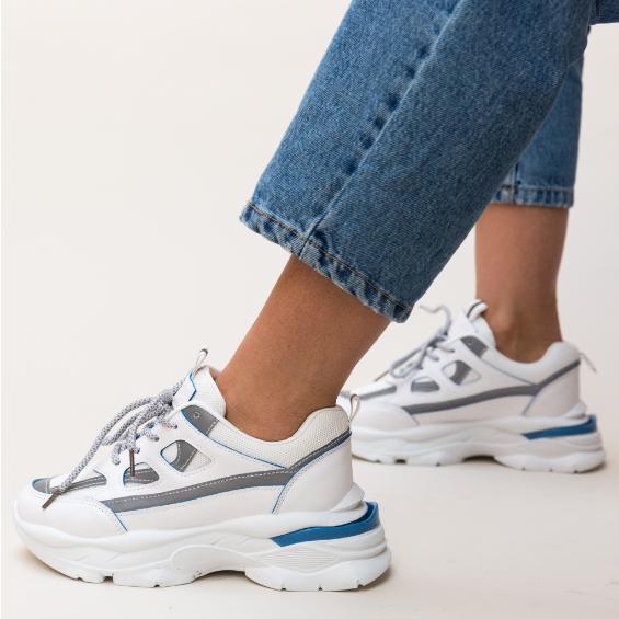 Adidasi femei ieftini albi 2020 cu talpa groasa la moda
