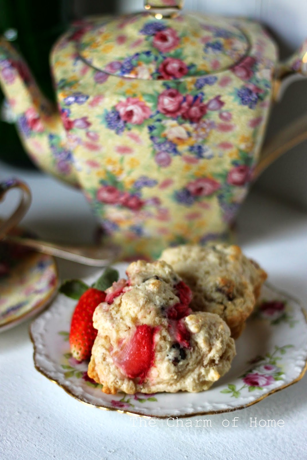 Strawberry and Chocolate Chip Scones, The Charm of Home