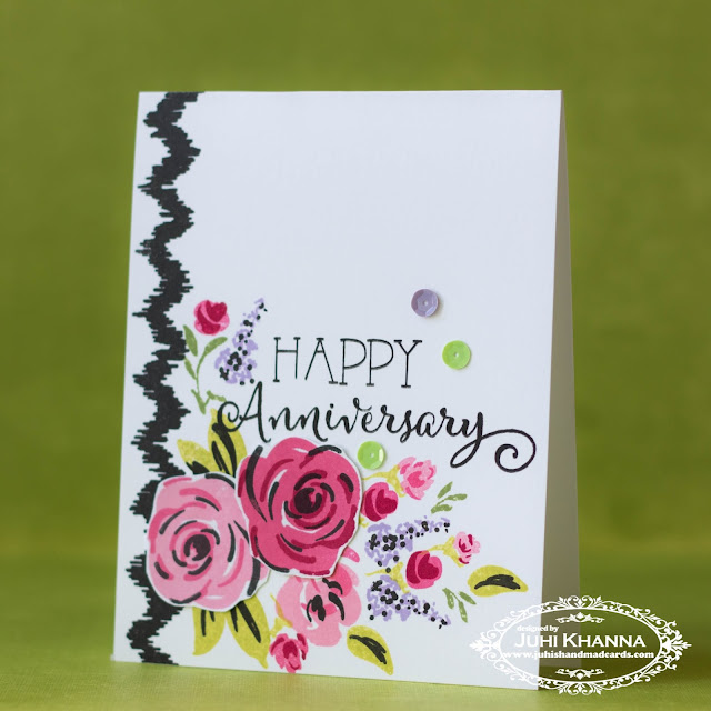One layer Anninversary Card with #wplus9 and #honeybeestamps