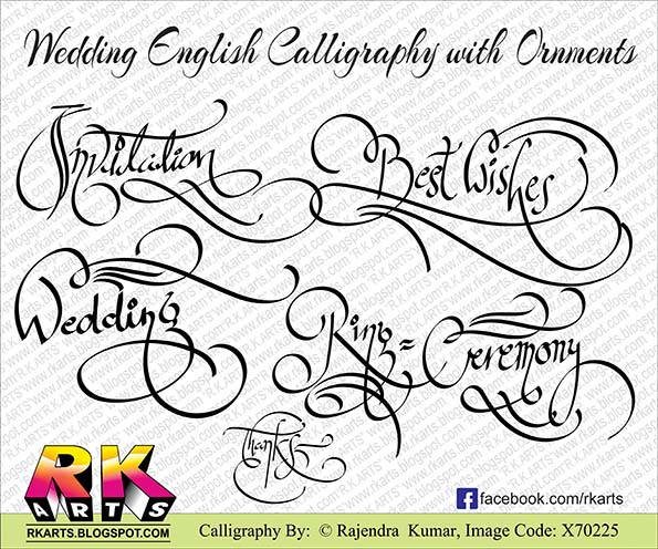 Wedding Special English Calligraphy With Ornaments