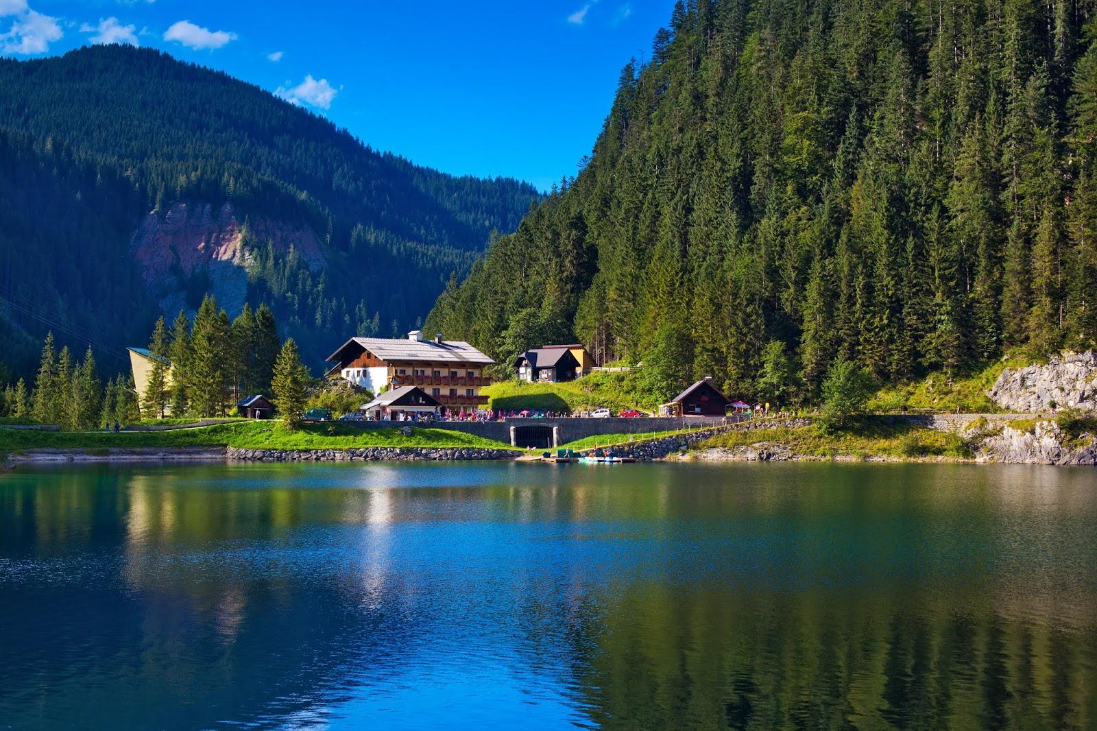 Alps Mountains, Lake house, Austria, HD, 4K, World