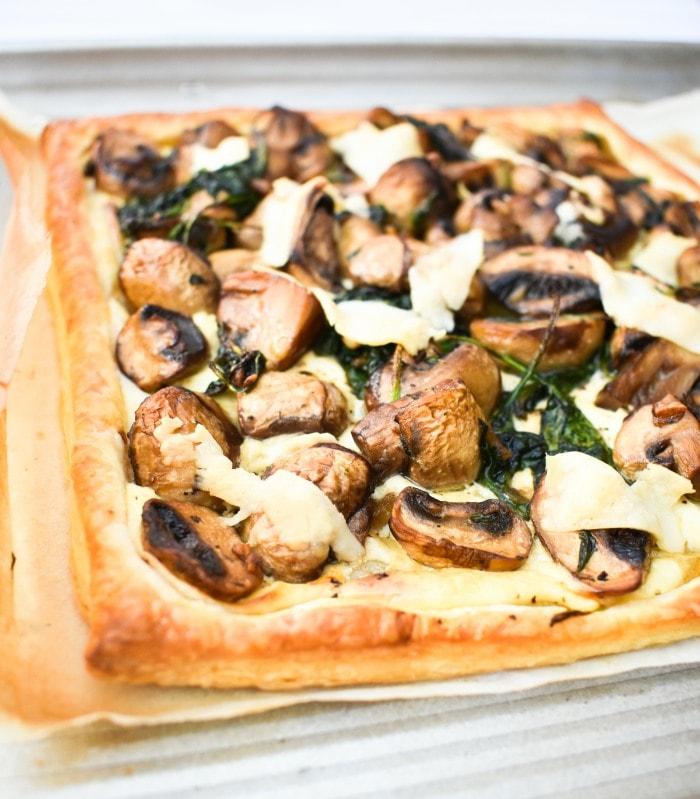 Close up of Garlic Mushroom & Spinach Puff Pastry Tart