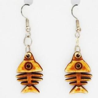 Plastic skeleton fish bone earrings
