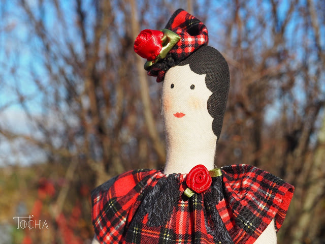 tartan, Scotland, Scottie dog, Glasgow, autumn, Tilda doll, rag doll, contemporary doll-making, commission, gift idea,