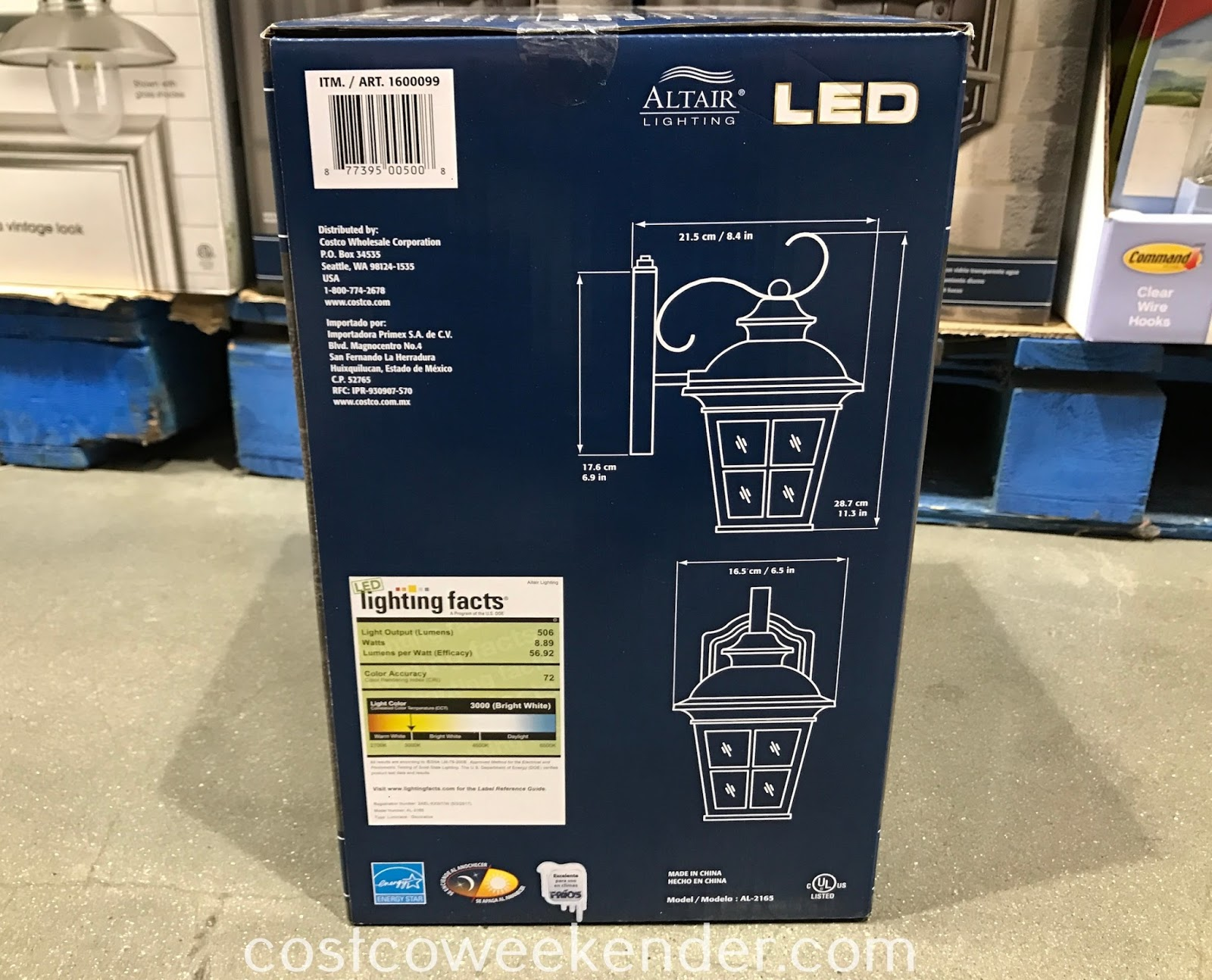 Costco 1600099 - Altair Outdoor LED Coach Light dimensions