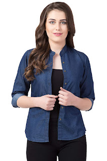 Women Casual Denim Mandarin Shirt