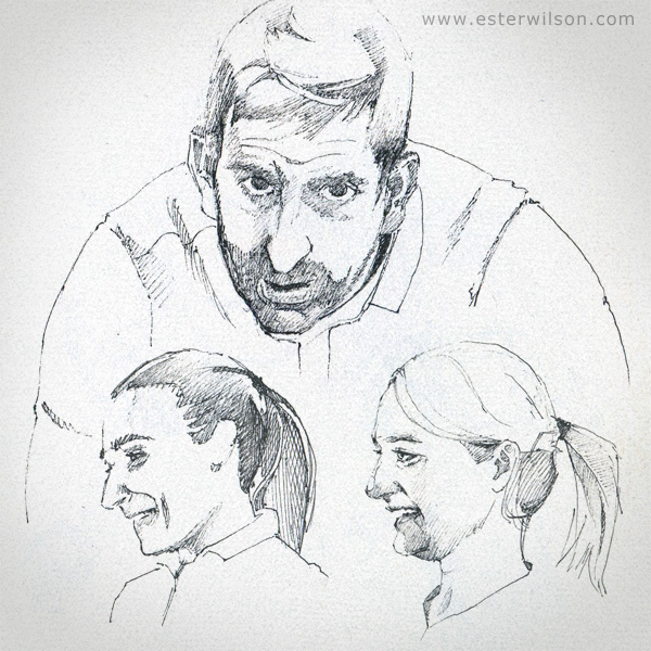 Drawing portraits from curling mixed doubles games from 2019 US vs Spain