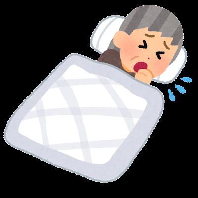寝ながら咳をする人のイラスト(おばあさん)
