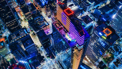 City, Night, Urban, Lights, Buildings, Aerial view