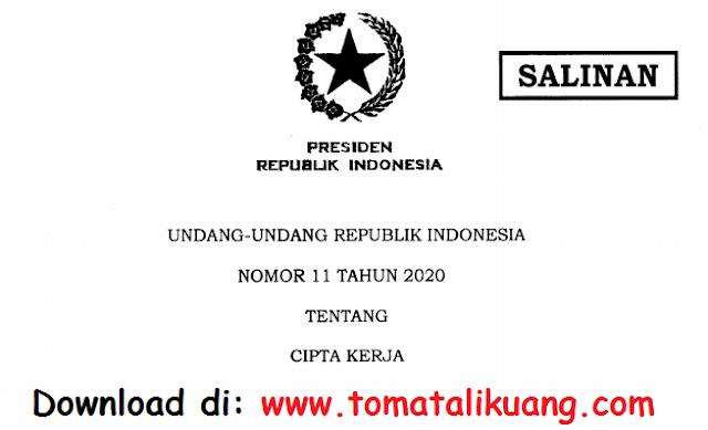 undang-undang uu nomor 11 tahun 2020 tentang cipta kerja omnibus law pdf tomatalikuang.com